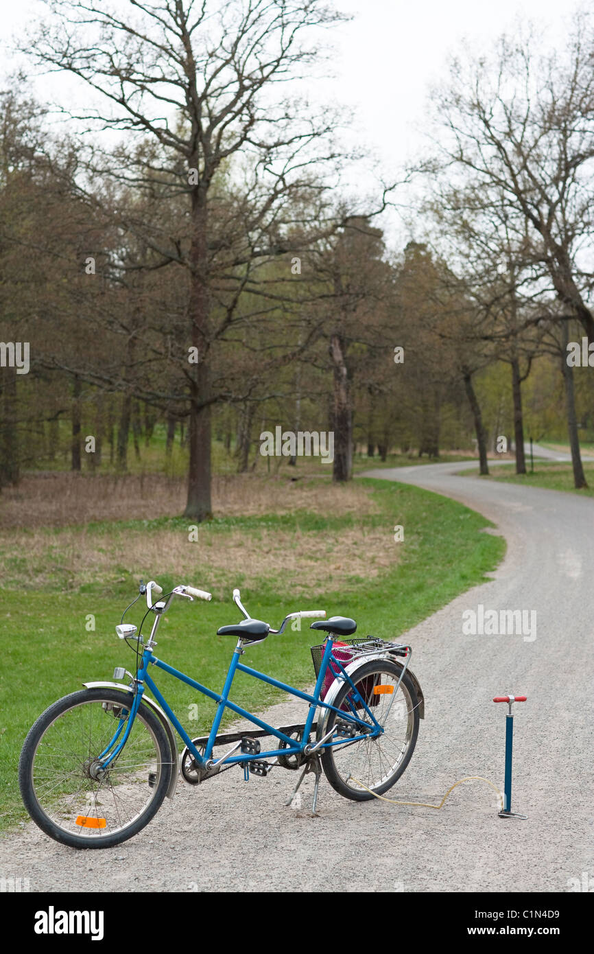 Tandem bike on path - Stock Image