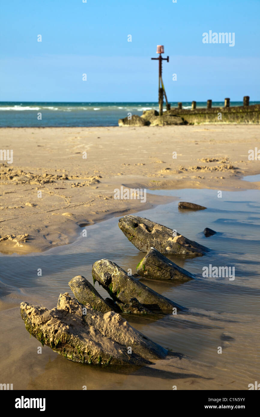 wooden timbers of old ship wreck on the beach in Norfolk East Anglia England - Stock Image
