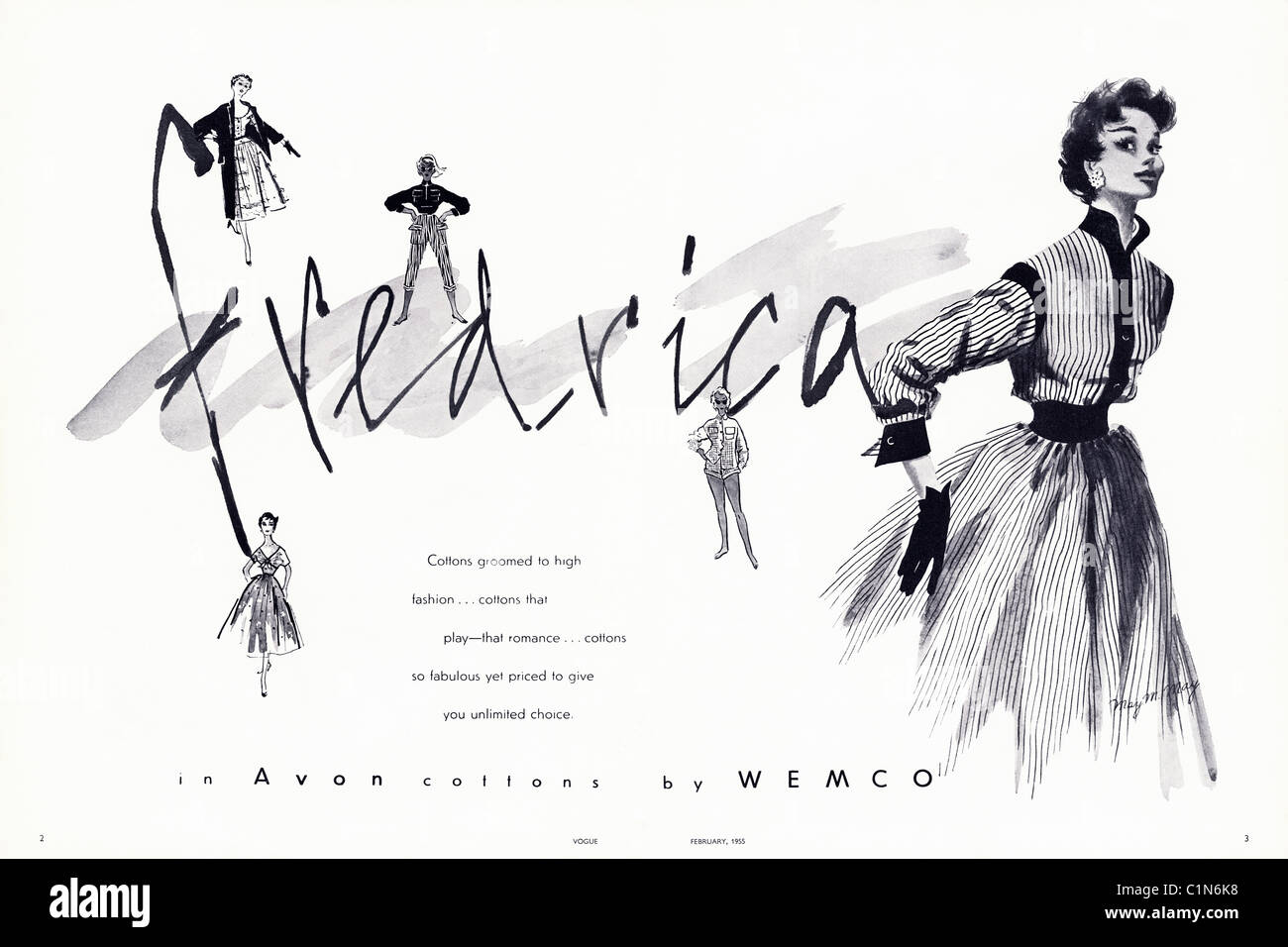 Original double page 1950s advert in women's fashion magazine for FREDRICA fashions by WEMCO - Stock Image