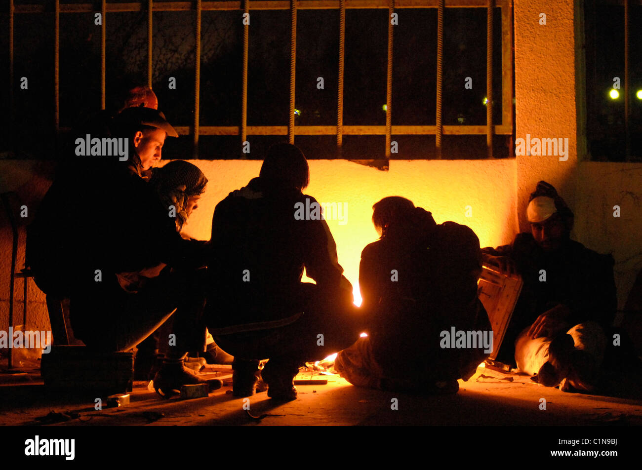 Rebels at night . Ras Lanuf - Stock Image