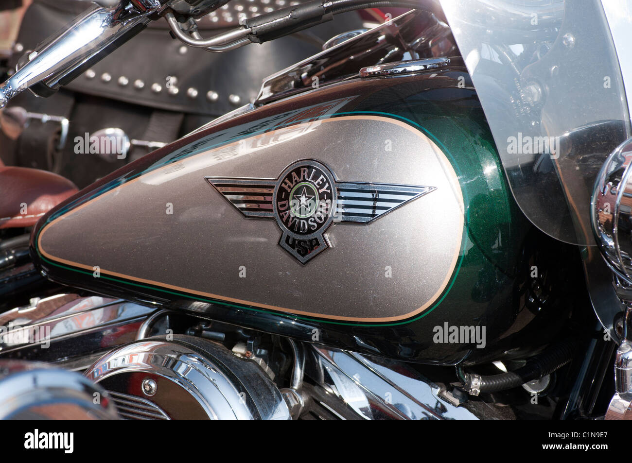 harley davidson motorcycle fuel tank with logo stock photo
