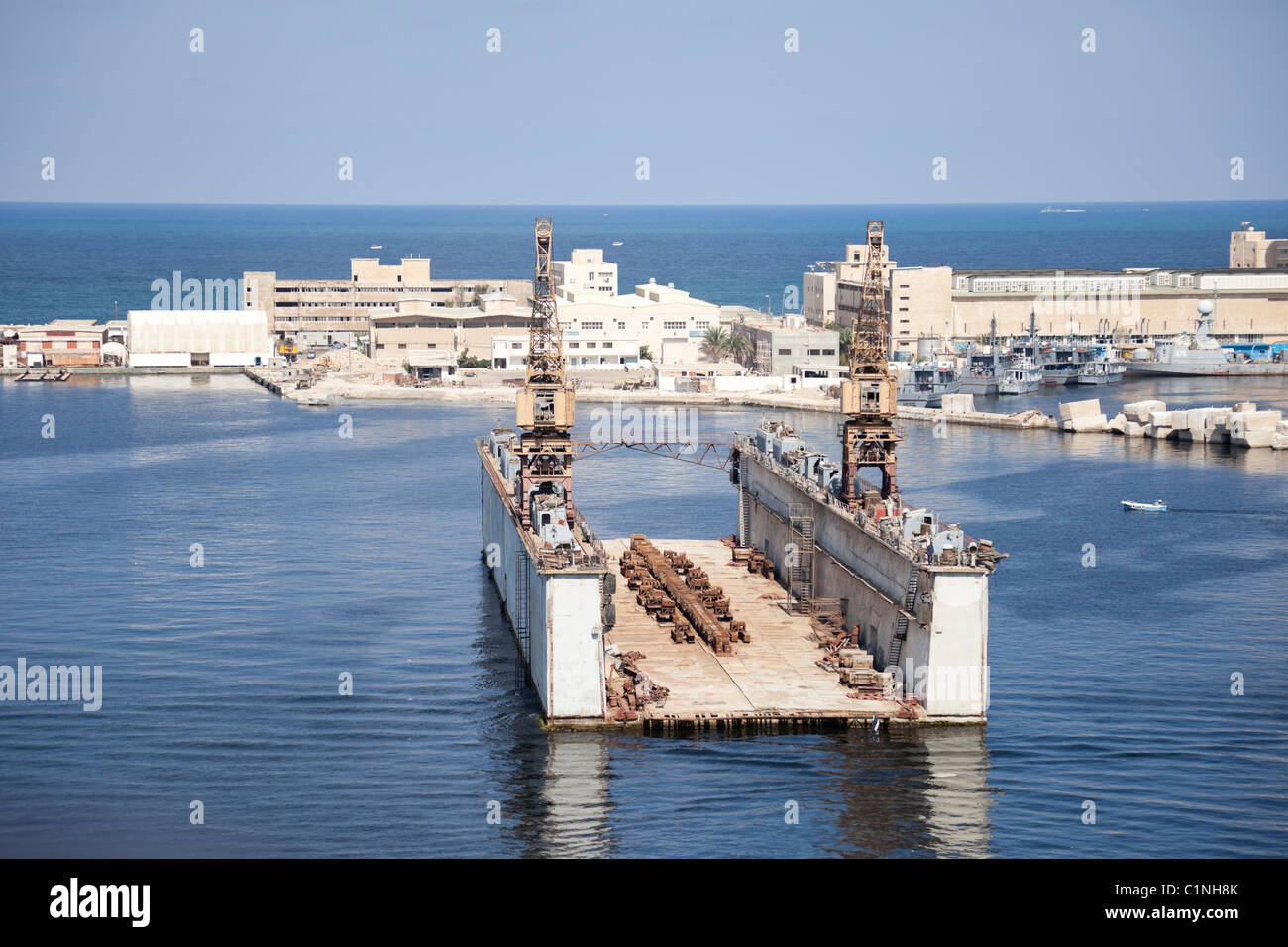 Floating dry dock, for ships to do repairs, maintenance and painting. and painting. and painting in port of Alexandria, - Stock Image