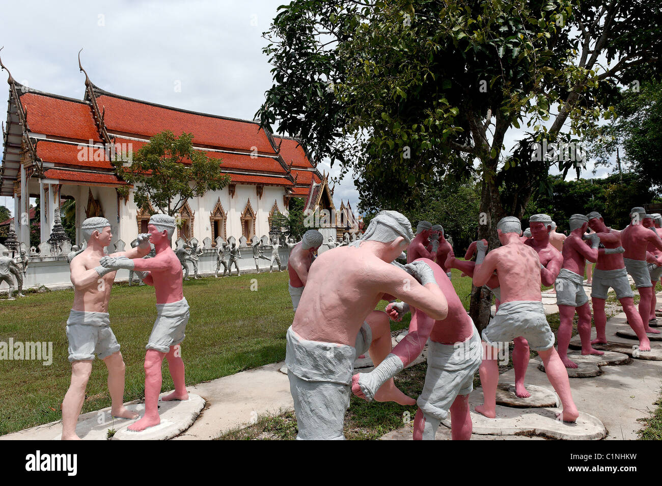 Thailand, Bangkok area, Wat Bang Kung temple, life-size models of Muay Thai fighters in different poses - Stock Image