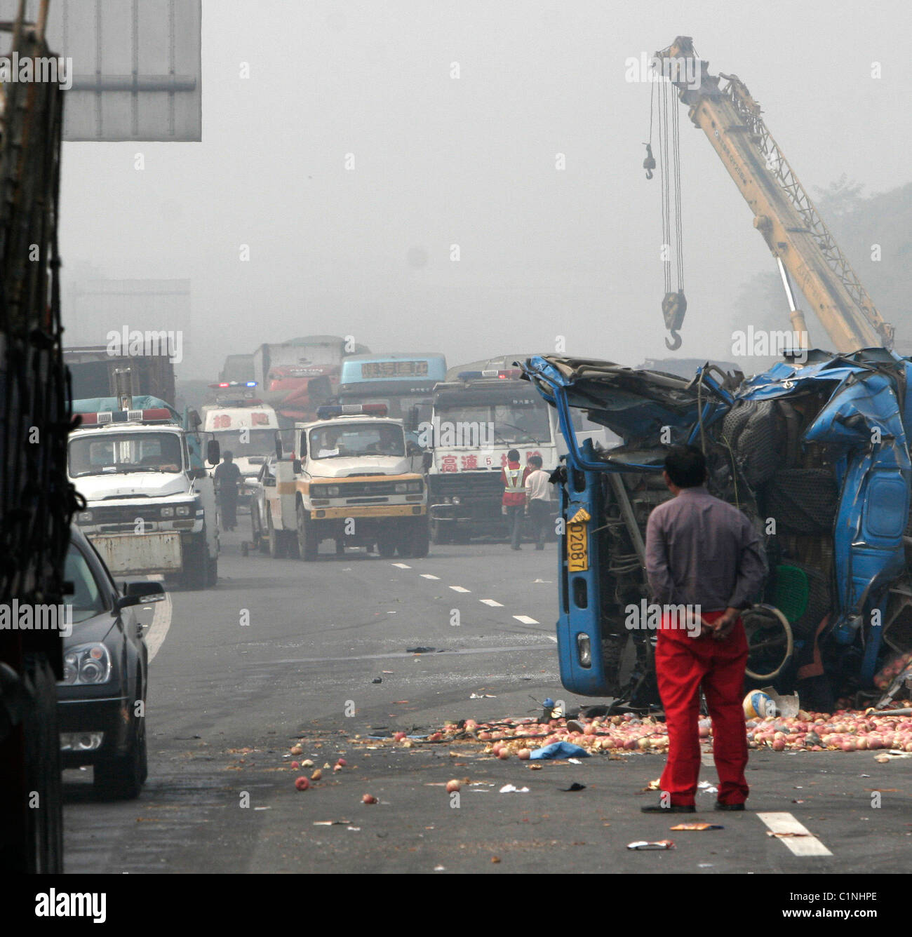 The aftermath of a deadly traffic accident in Louyang, China