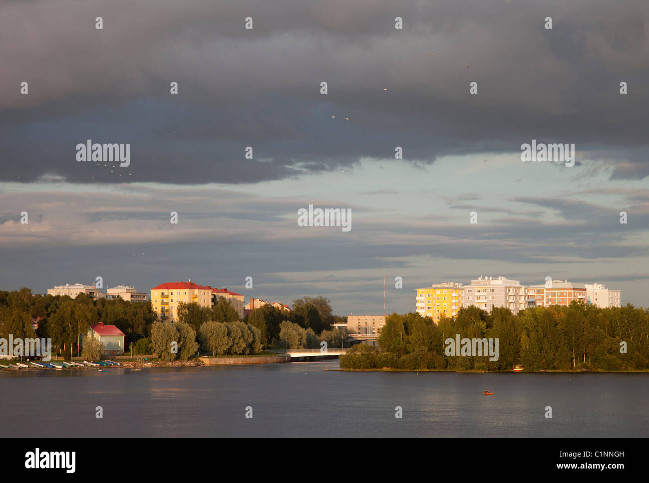 View of Tuira / Merikoski region of Oulu city and over Oulujoki river delta ( Hartaanselkä ) Finland - Stock Image