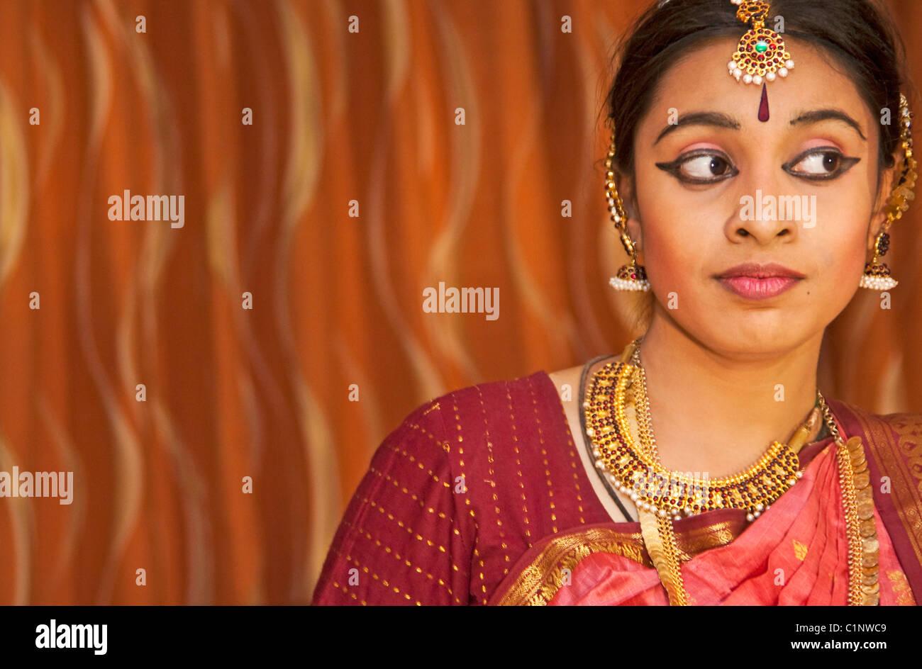 Bharata Natyam classical dancer of Tamil Nadu performed in Chennai - Stock Image