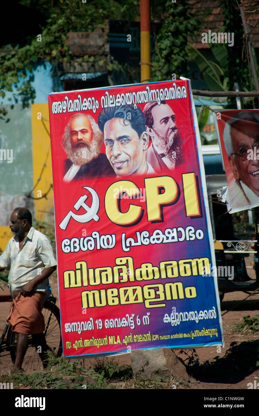 Poster in Kerala for the Communist Party of India - Stock Image