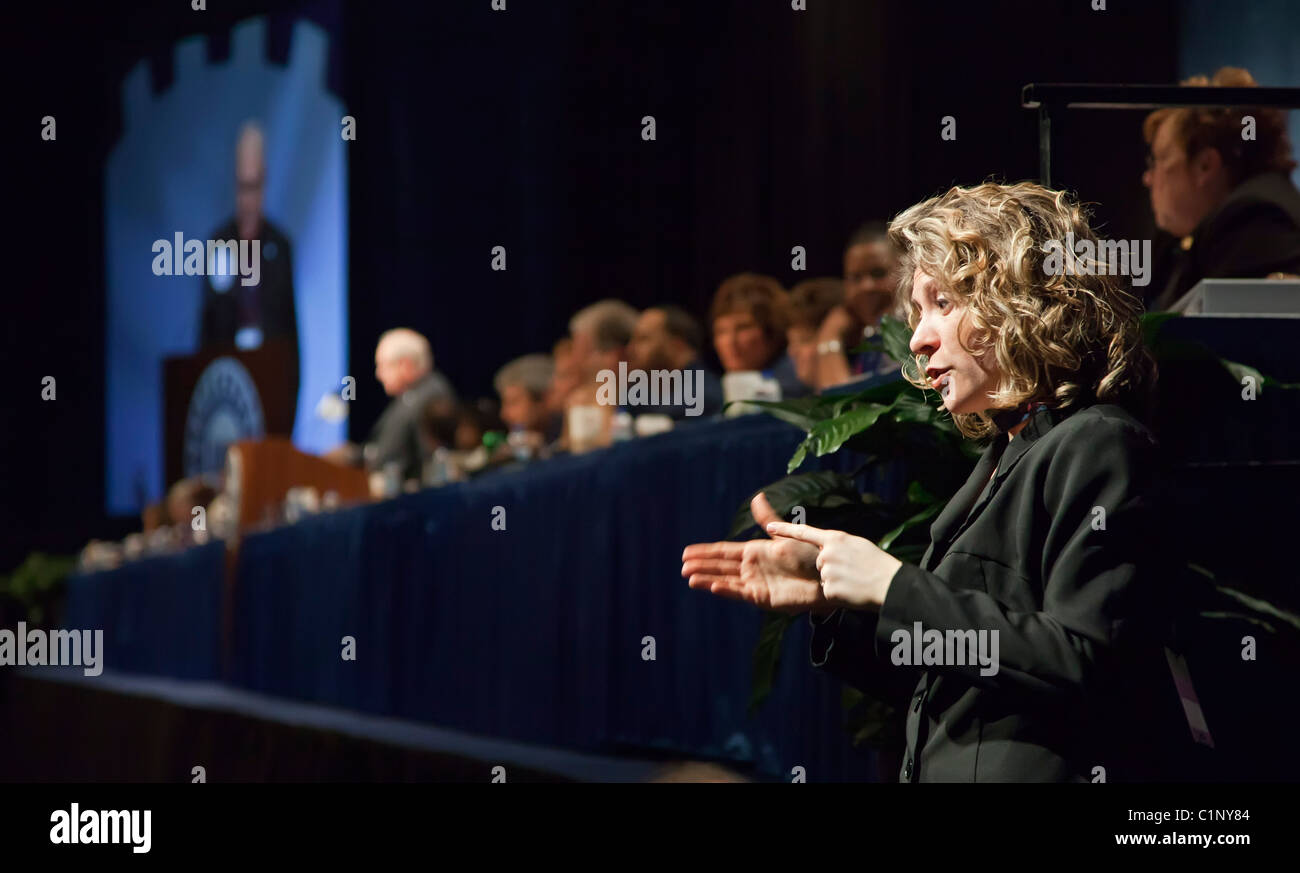 Sign Language Interpreter at United Auto Workers Collective Bargaining Convention - Stock Image