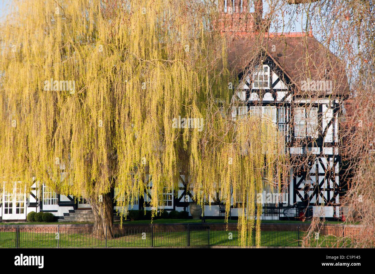 A mock Tudor house on the river Thames at Maidenhead. England. - Stock Image