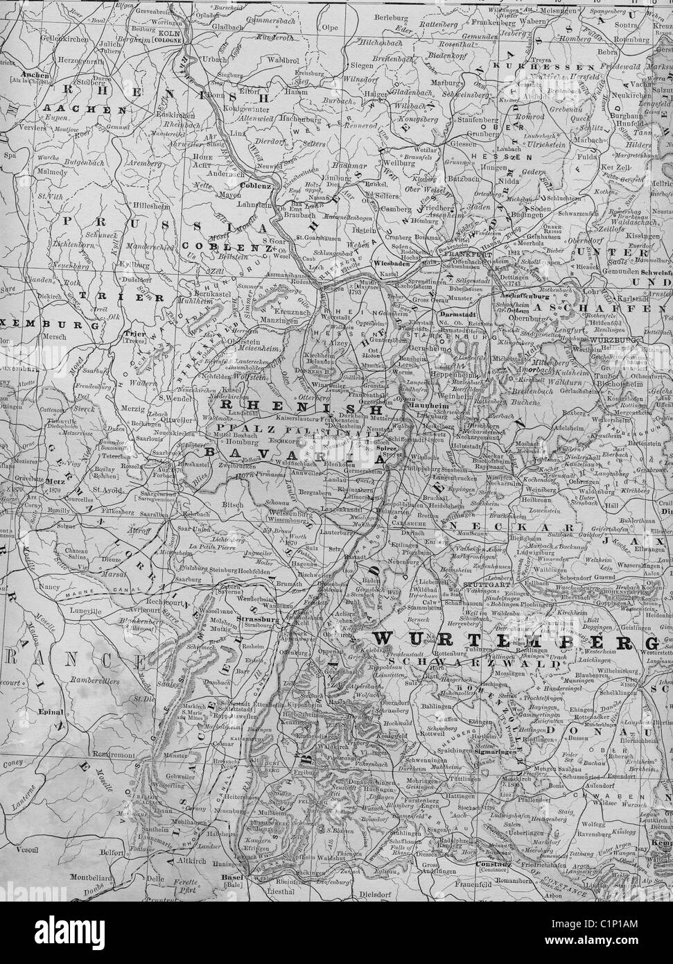 Old Map Of Southern Germany From Original Geography Textbook 1884