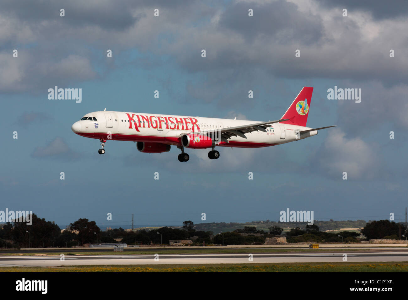 Kingfisher Airlines Airbus A321 Arriving In Malta To Pick Up Indian Evacuees From Libya During The