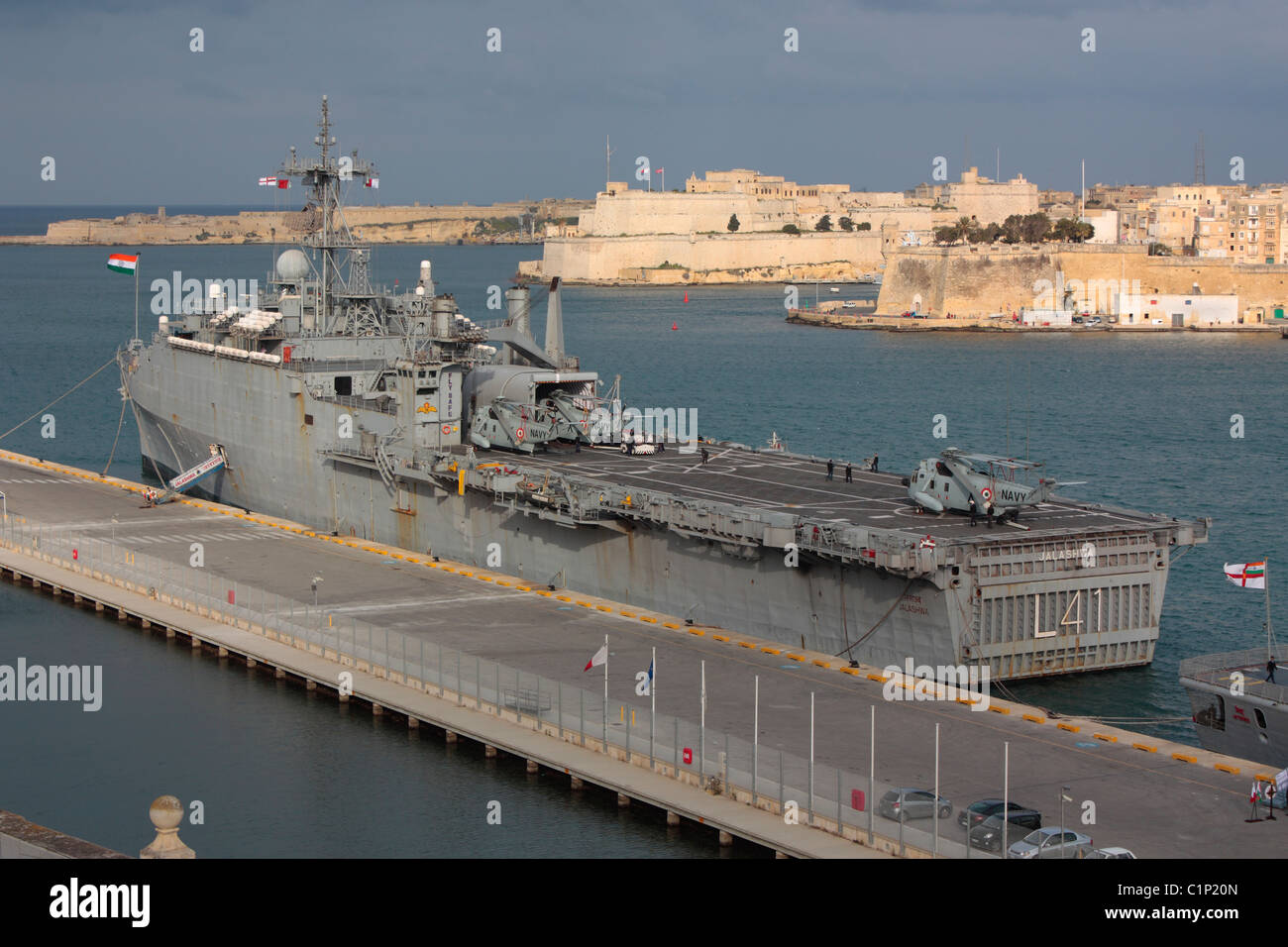 The Indian Navy ship INS Jalashwa in Malta after evacuating Indian nationals from Libya, 12 March 2011 - Stock Image