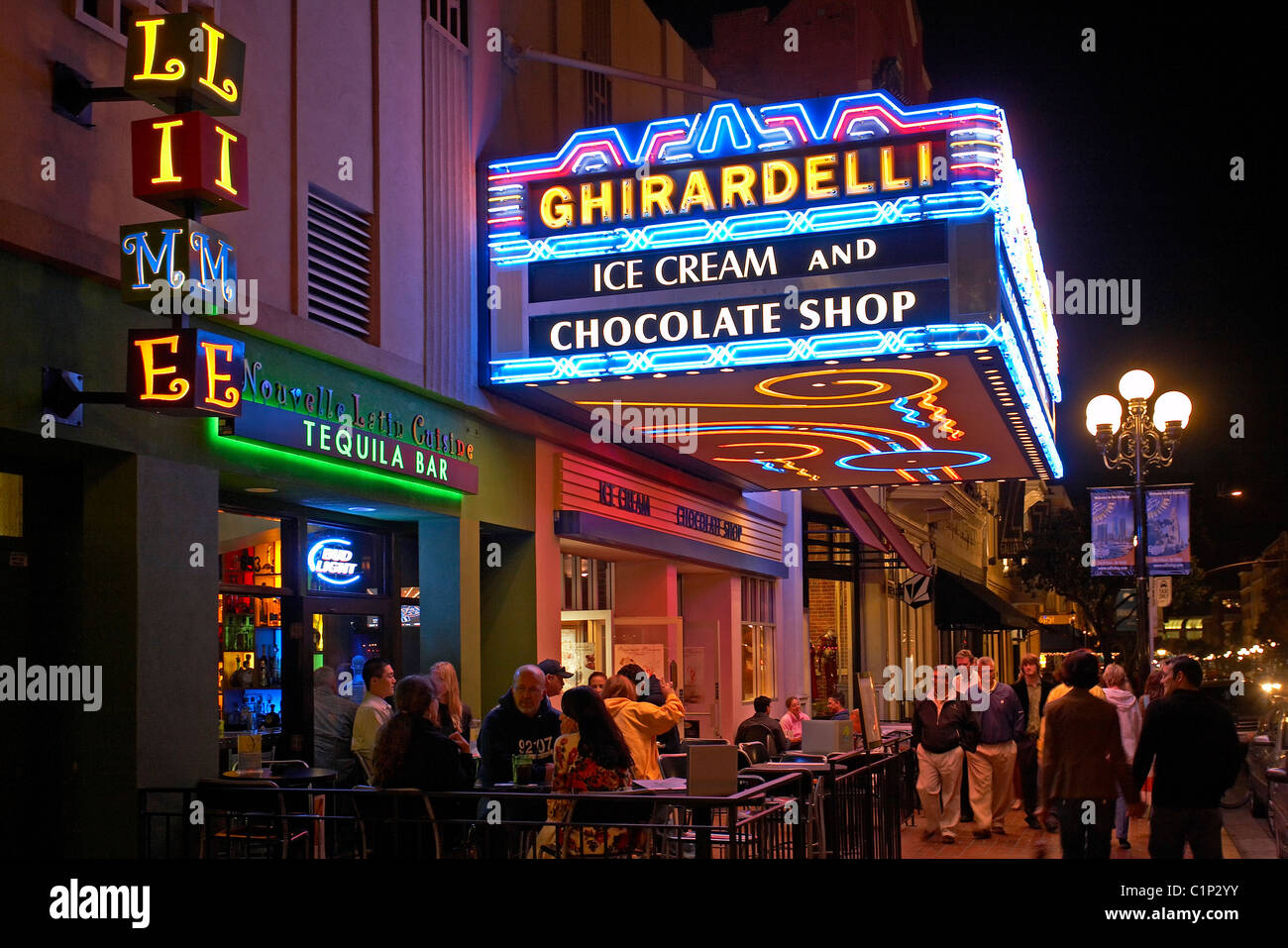 United States, California, San Diego, Downtown, Gaslamp District In  Twilight, Ghirardelli Chocolate Shop And Lime Bar