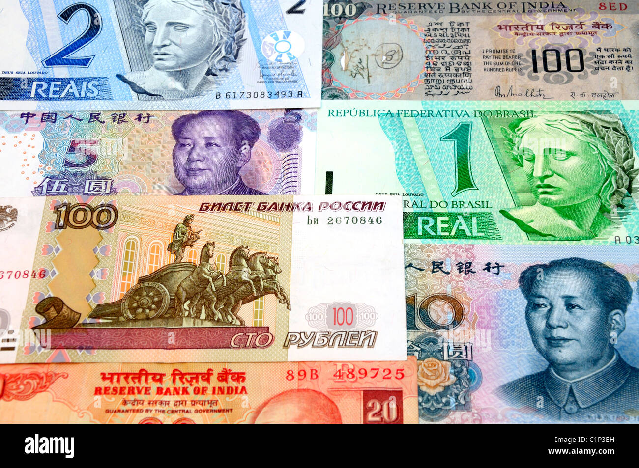 BRIC Currencies. - Stock Image