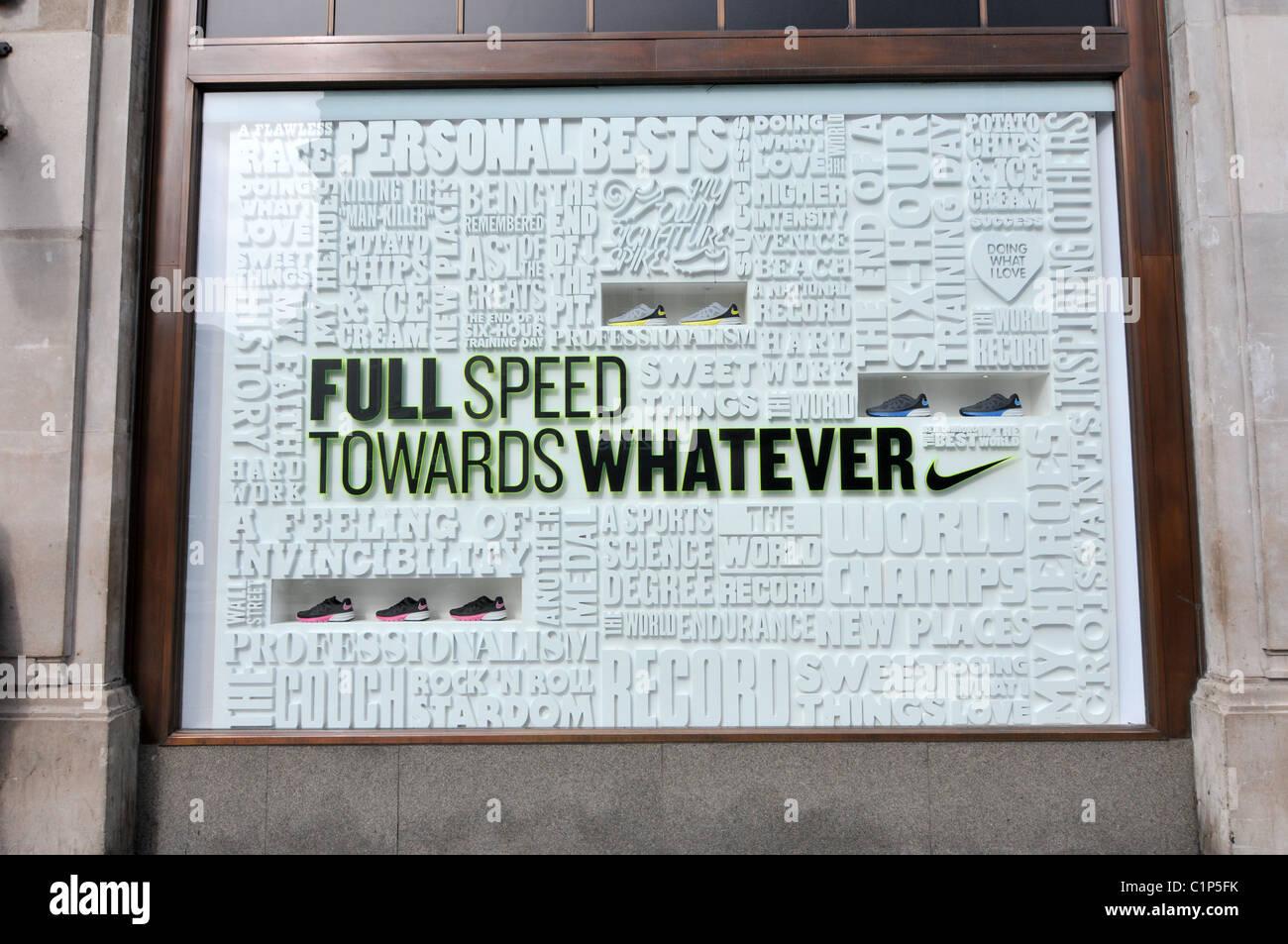 Nike Store Oxford Circus Advert Shop Window Display Slogan Full Speed Towards Whatever