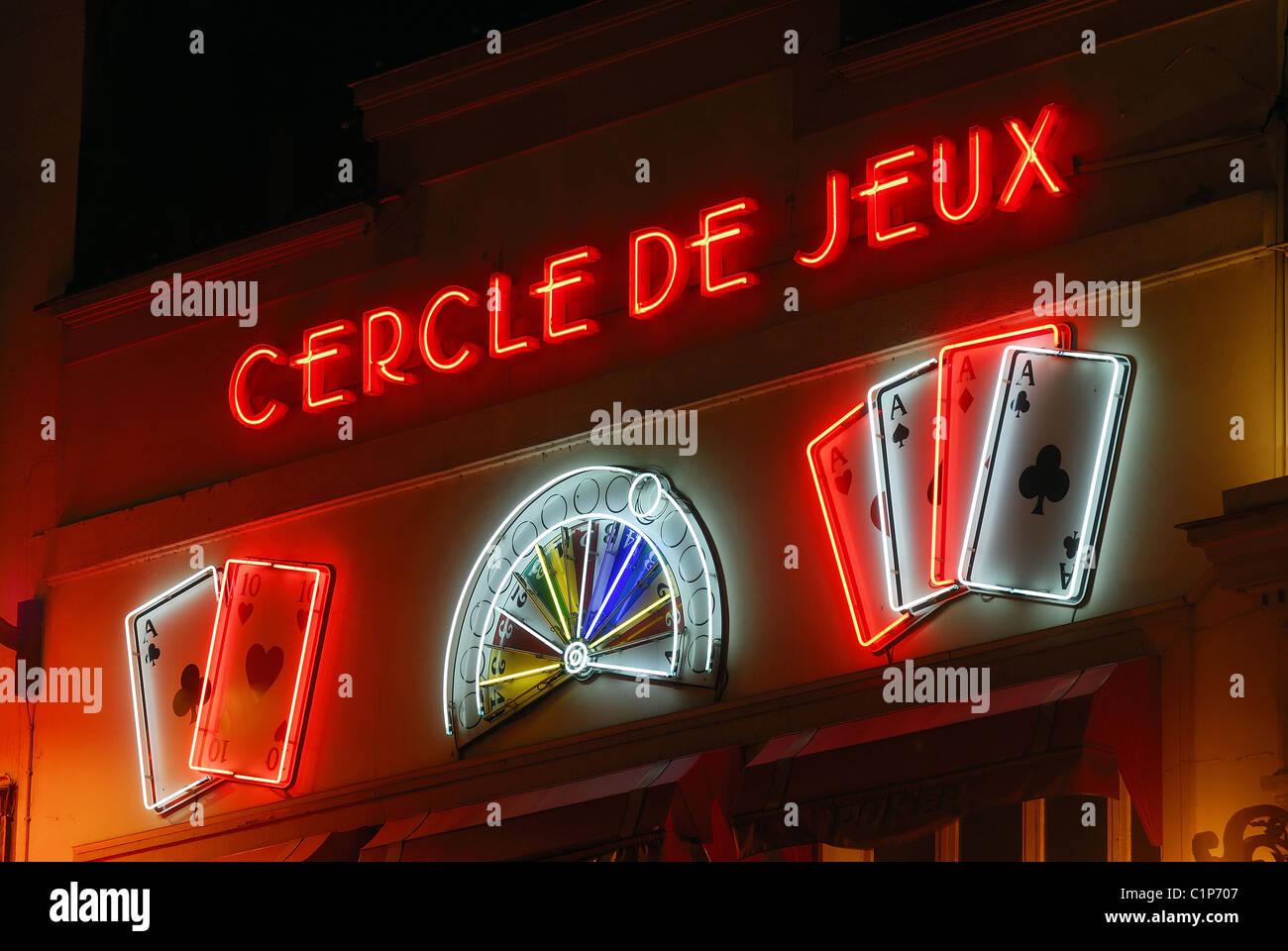 France, Paris, Cercle des Jeux Clichy-Montmartre, Rue de Clichy - Stock Image