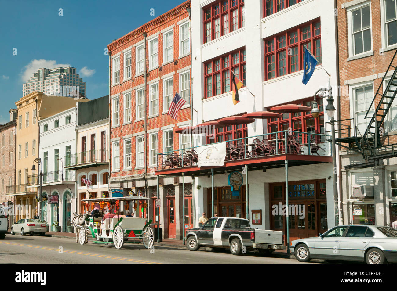 Carriage on Decatur street New Orleans - Stock Image