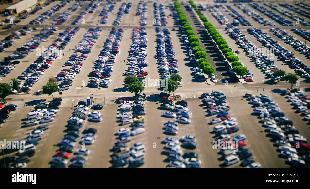 Selective focus aerial photograph of LAX parking lot, Los Angeles, S. California, USA - Stock Image