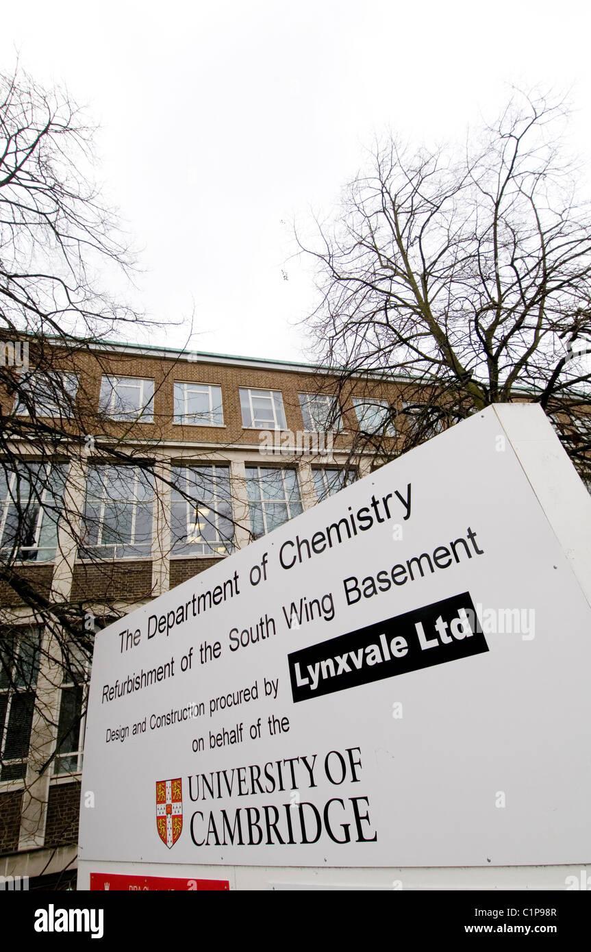 university of cambridge chemistry department british renown universities education establishment building renovation - Stock Image