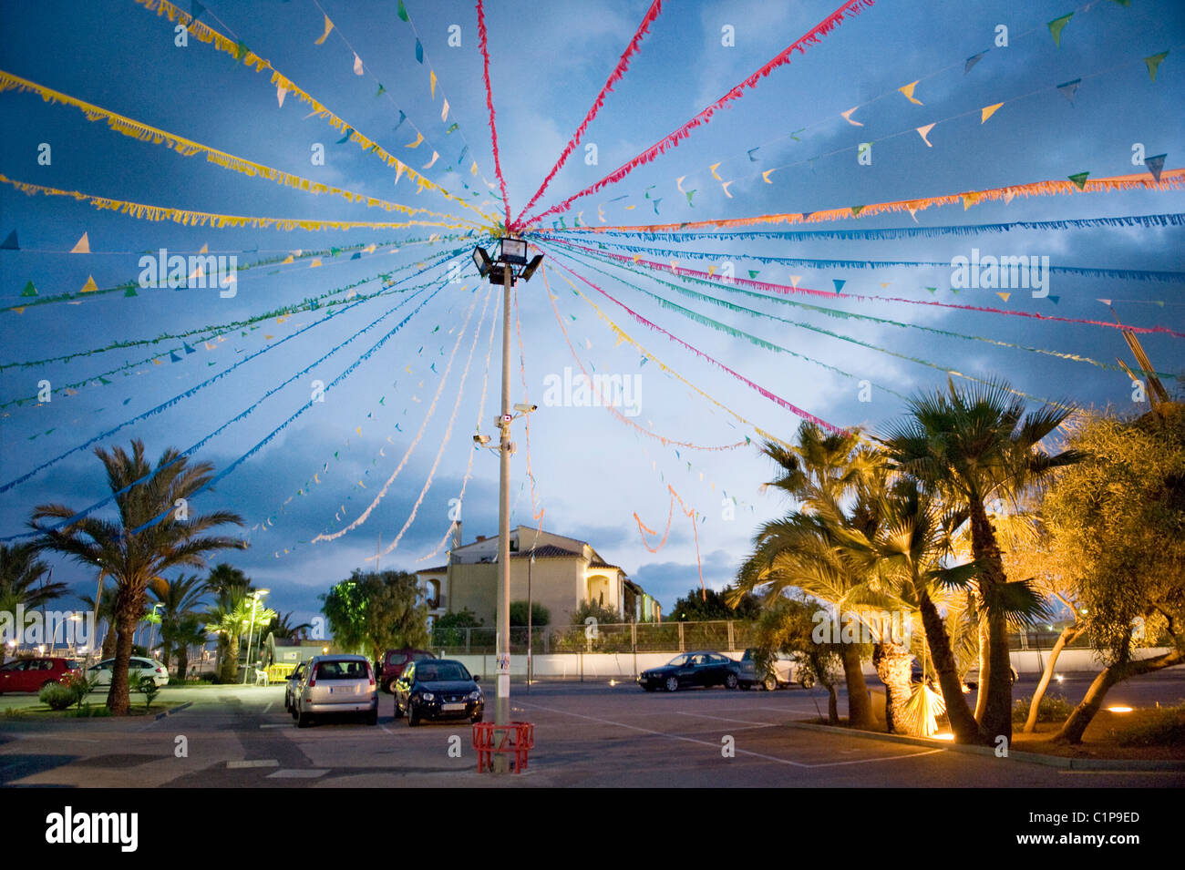 Decorated street during dusk Stock Photo