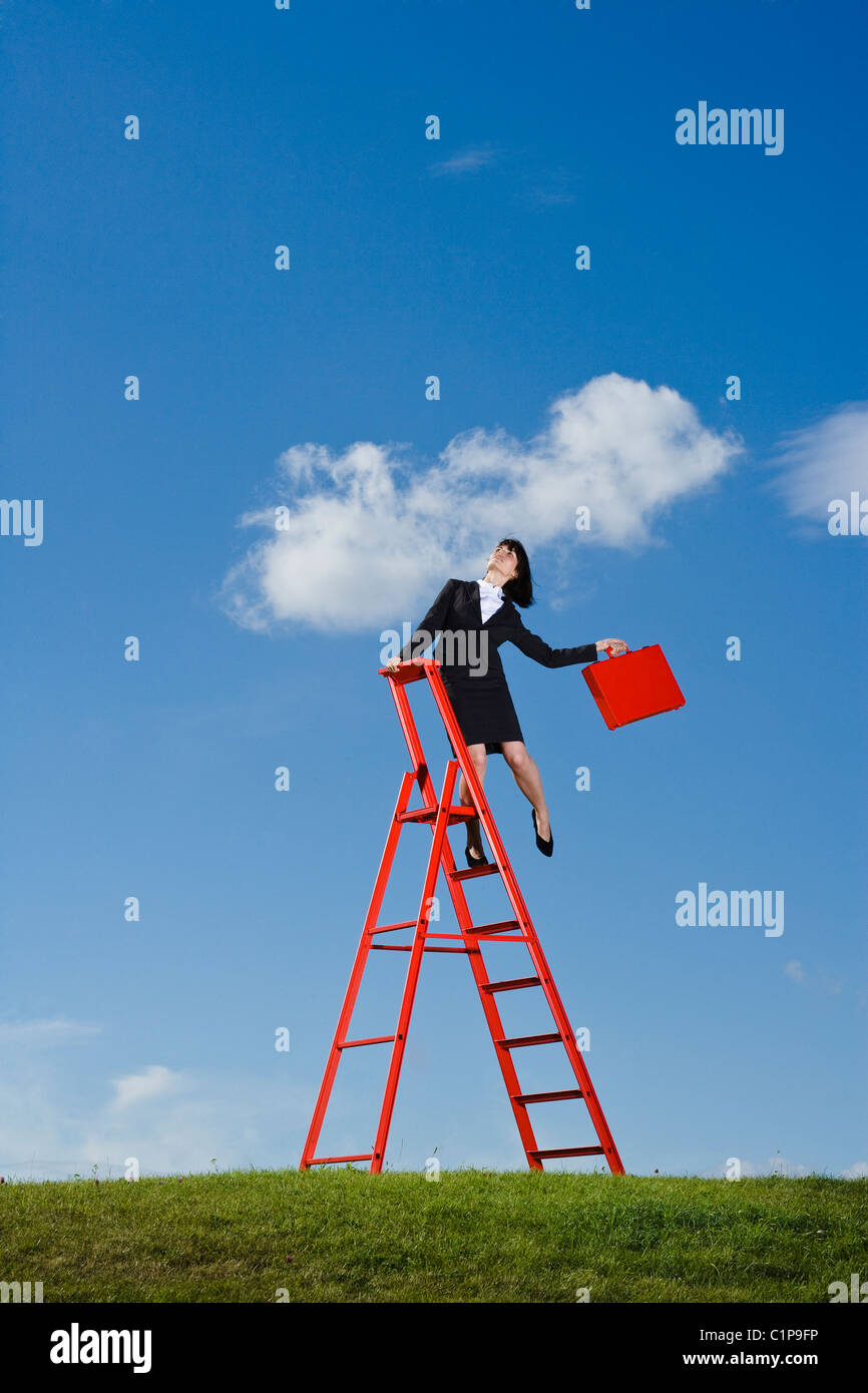 Businesswoman with red briefcase balancing on top of  red ladder in grass field - Stock Image