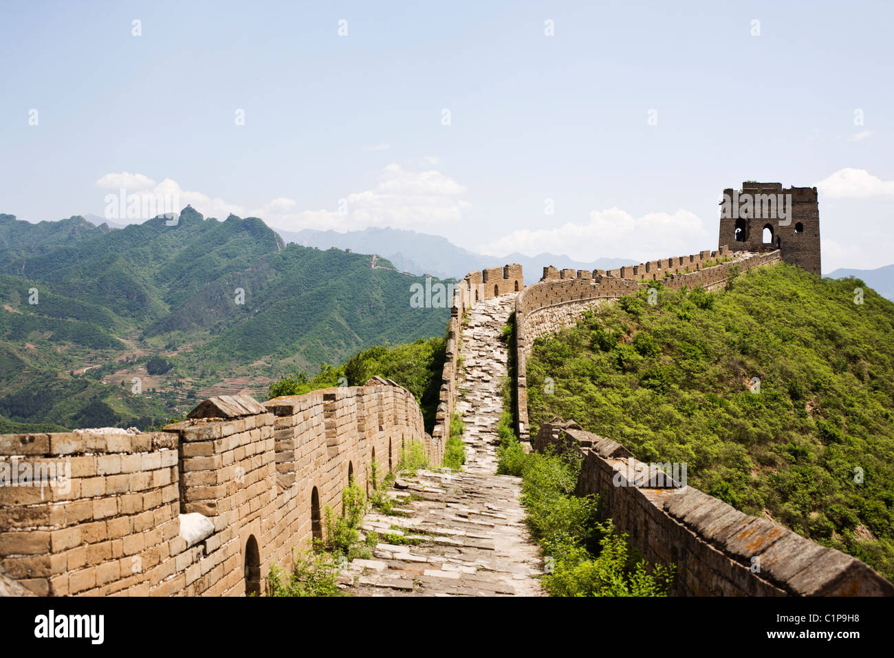 Great Wall of China,view from Wall Stock Photo