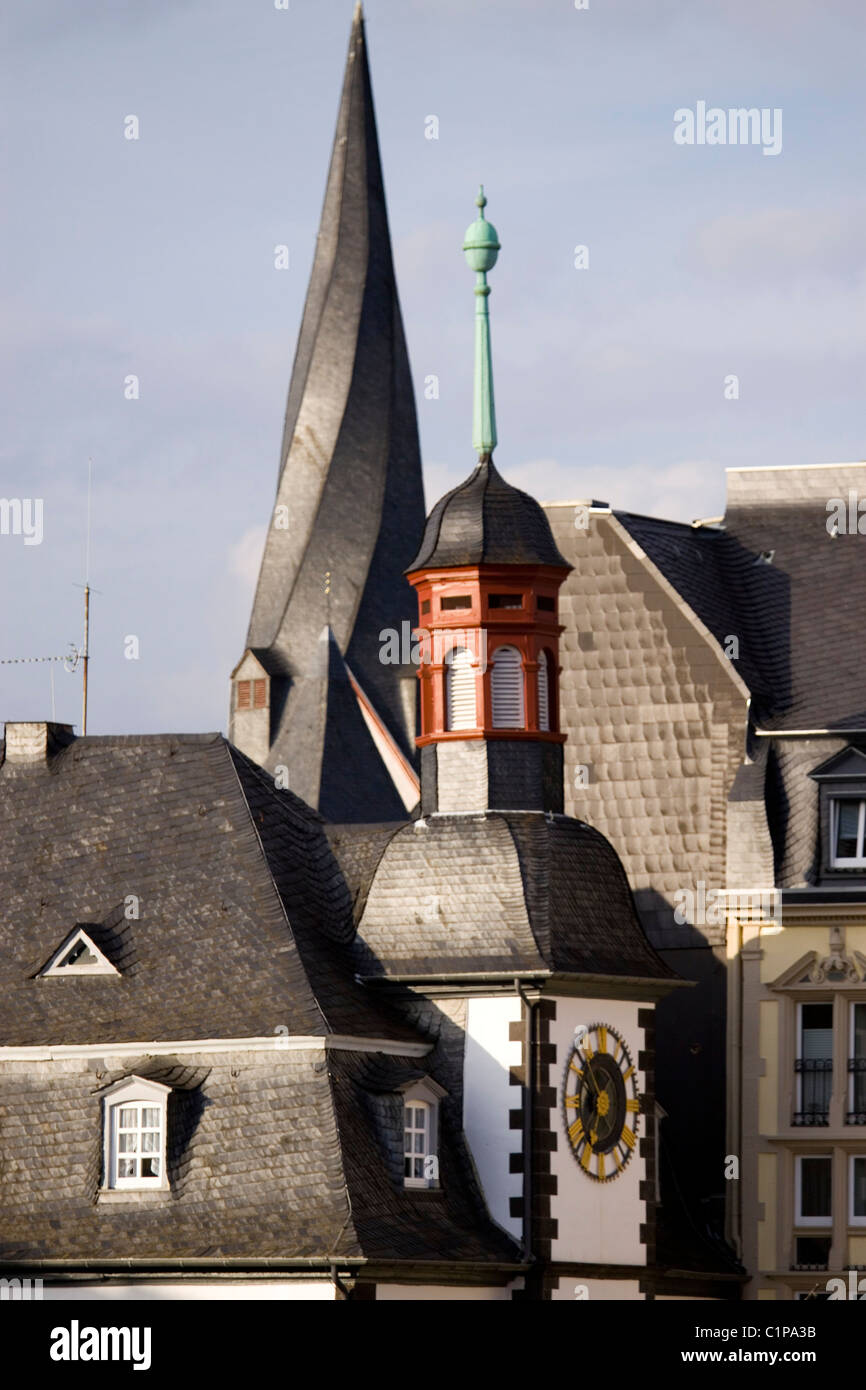 Germany, Mayen, roof tops and spires - Stock Image