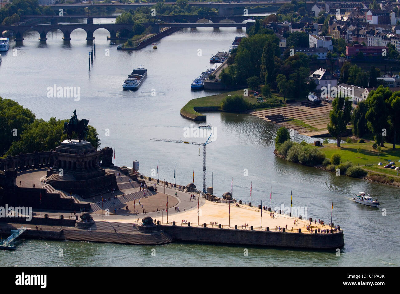 Germany, Koblenz, Deutsches Eck, headland and river in city - Stock Image