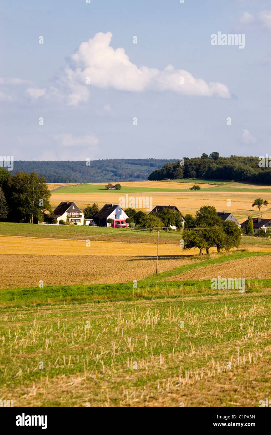 Germany, Limburg an der Lahn, Lahn Valley, View of village houses at landscape - Stock Image