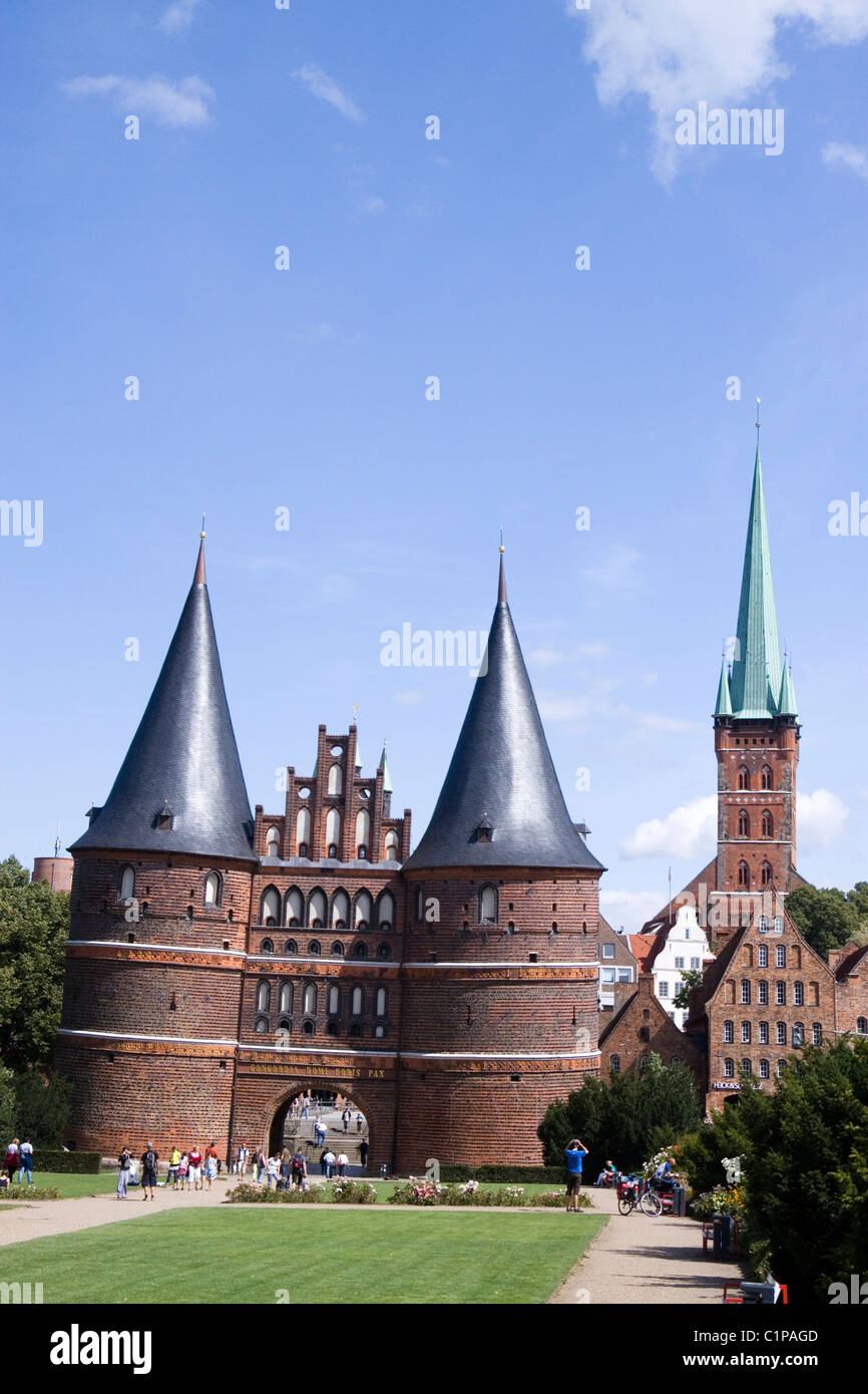 Germany, Lubeck, Holstentor, city gate - Stock Image