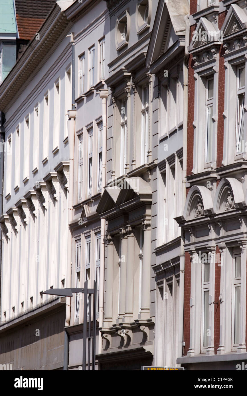 Germany, Lubeck, terrace of building facades - Stock Image