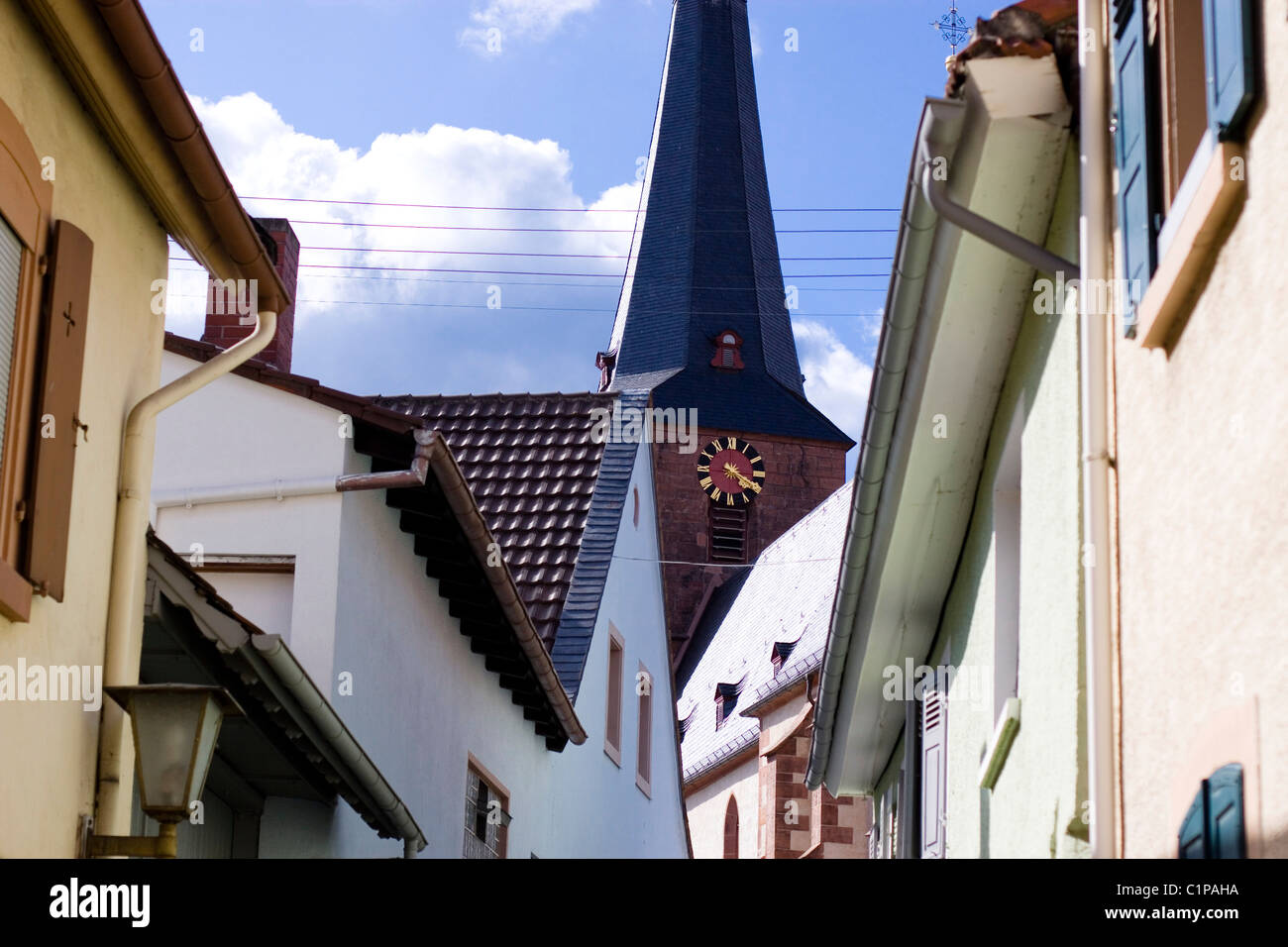 Germany, Deidesheim, buildings and church spire - Stock Image