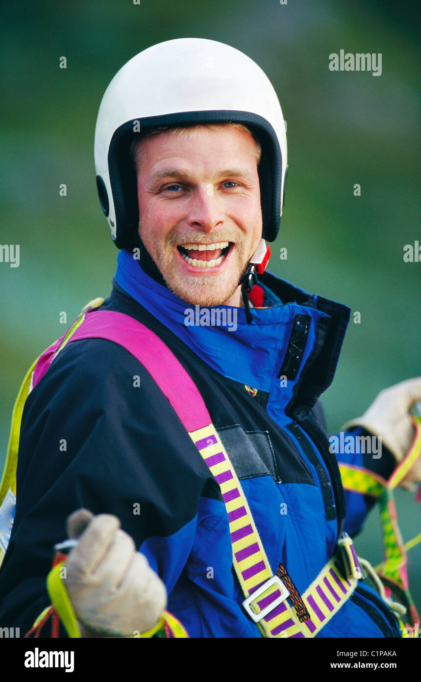 Portrait of paraglider laughing Stock Photo