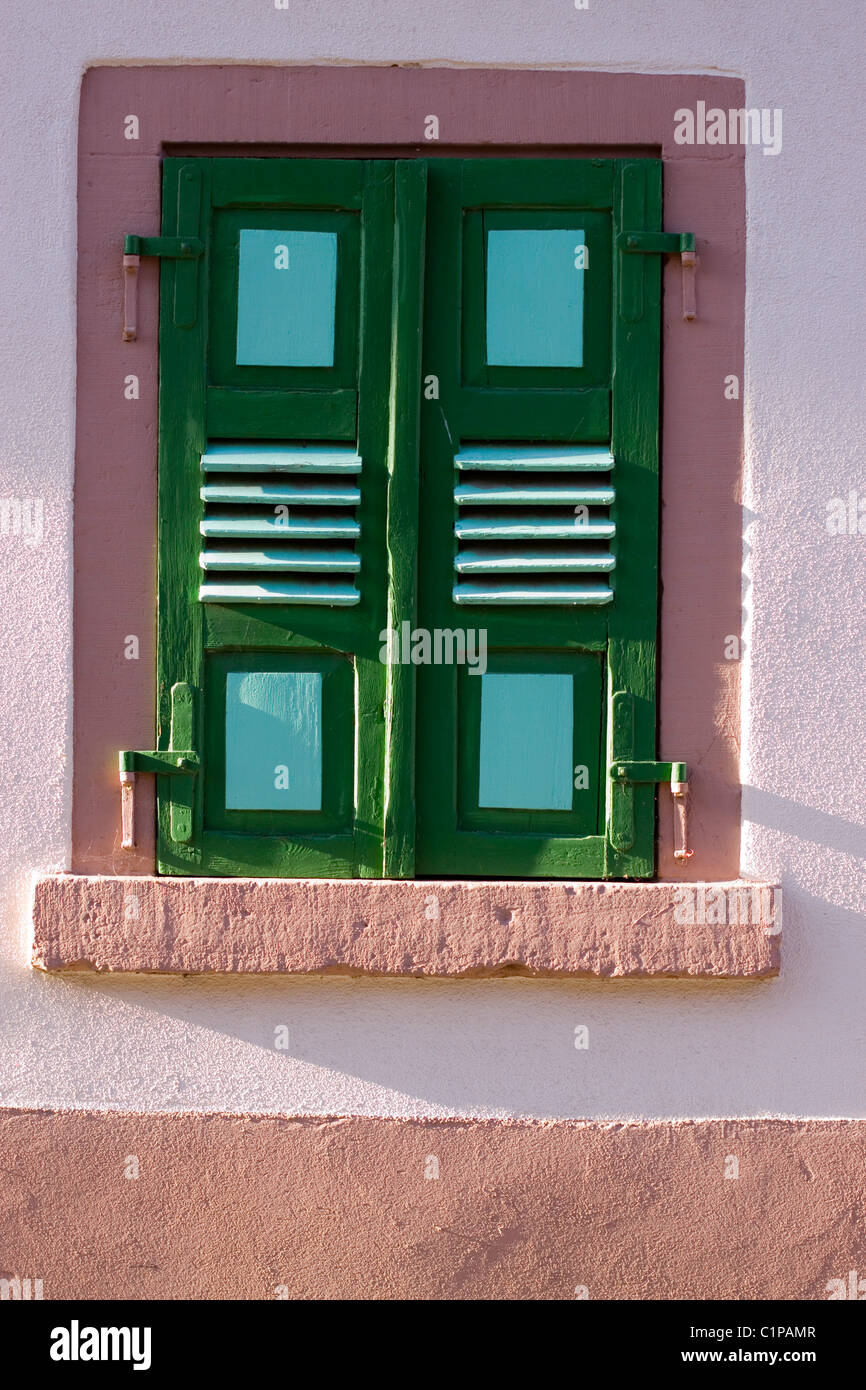 Germany, St. Martin, closed windows with shutters - Stock Image