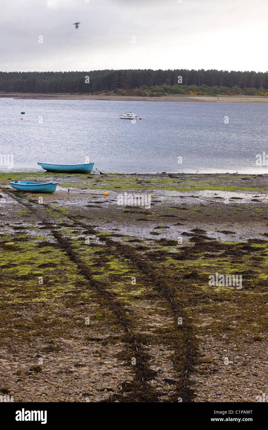 Scotland, Findhorn, boats moored on banks of muddy bay - Stock Image