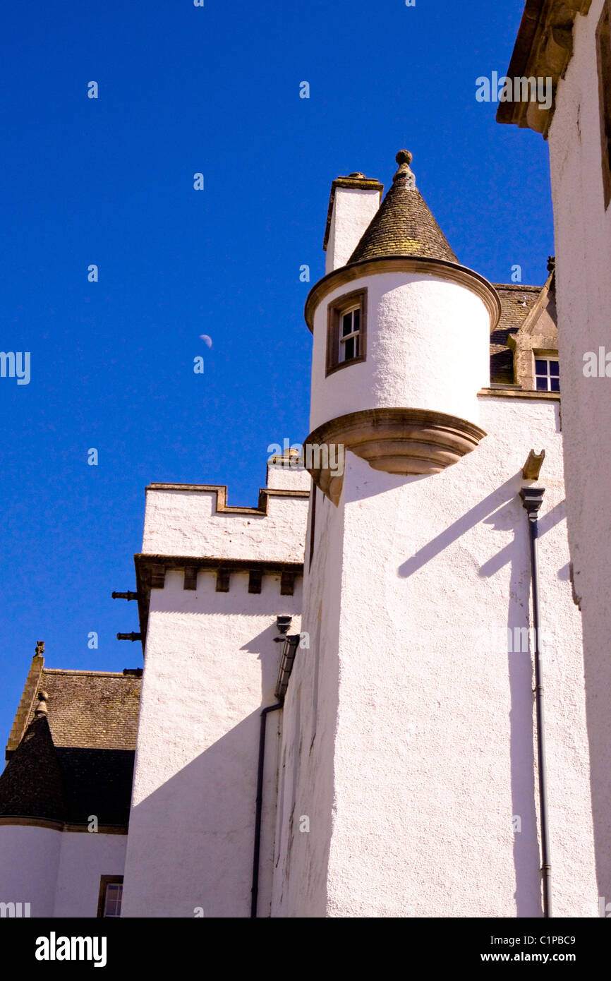 Scotland, Perthshire, Blair Castle, whitewashed walls of castle set against blue sky - Stock Image