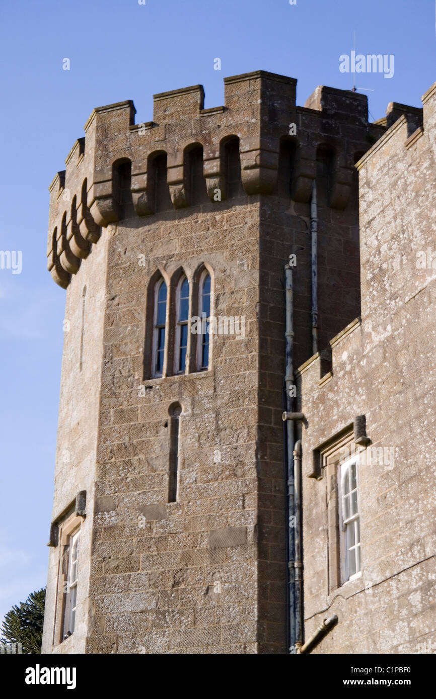 Scotland, Loch Lomond and Trossachs, Balloch Castle, tower with turrets - Stock Image