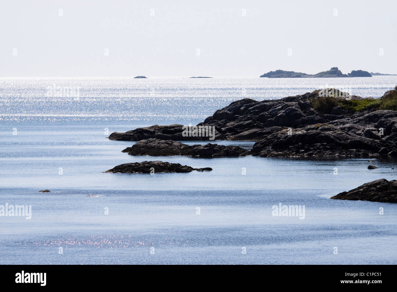 Scotland, Moidart, Sound of Arisaig, rocky coastline - Stock Image