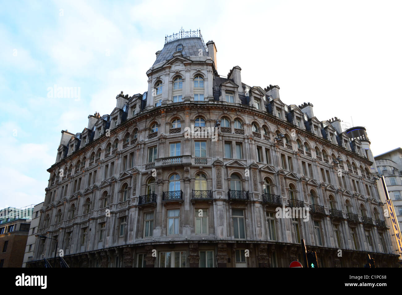 Traditional stone facade near Leicester Square, London - Stock Image