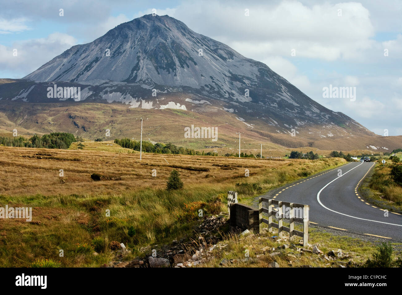 Republic of Ireland, County Donegal, Gweedore, Errigal Mountain - Stock Image