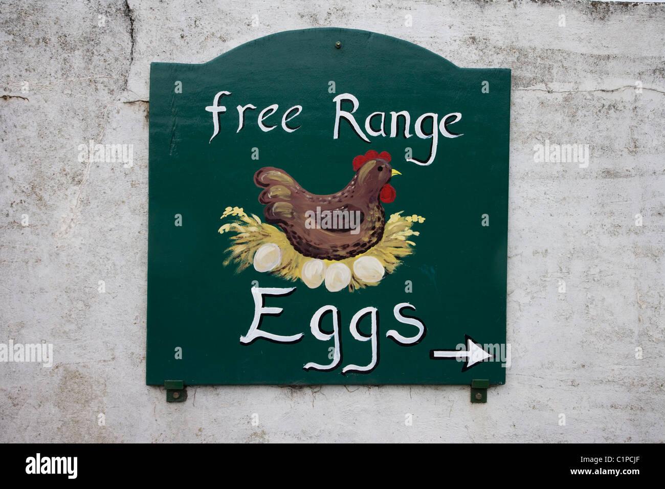 Republic of Ireland, Wicklow, sign for free range eggs - Stock Image