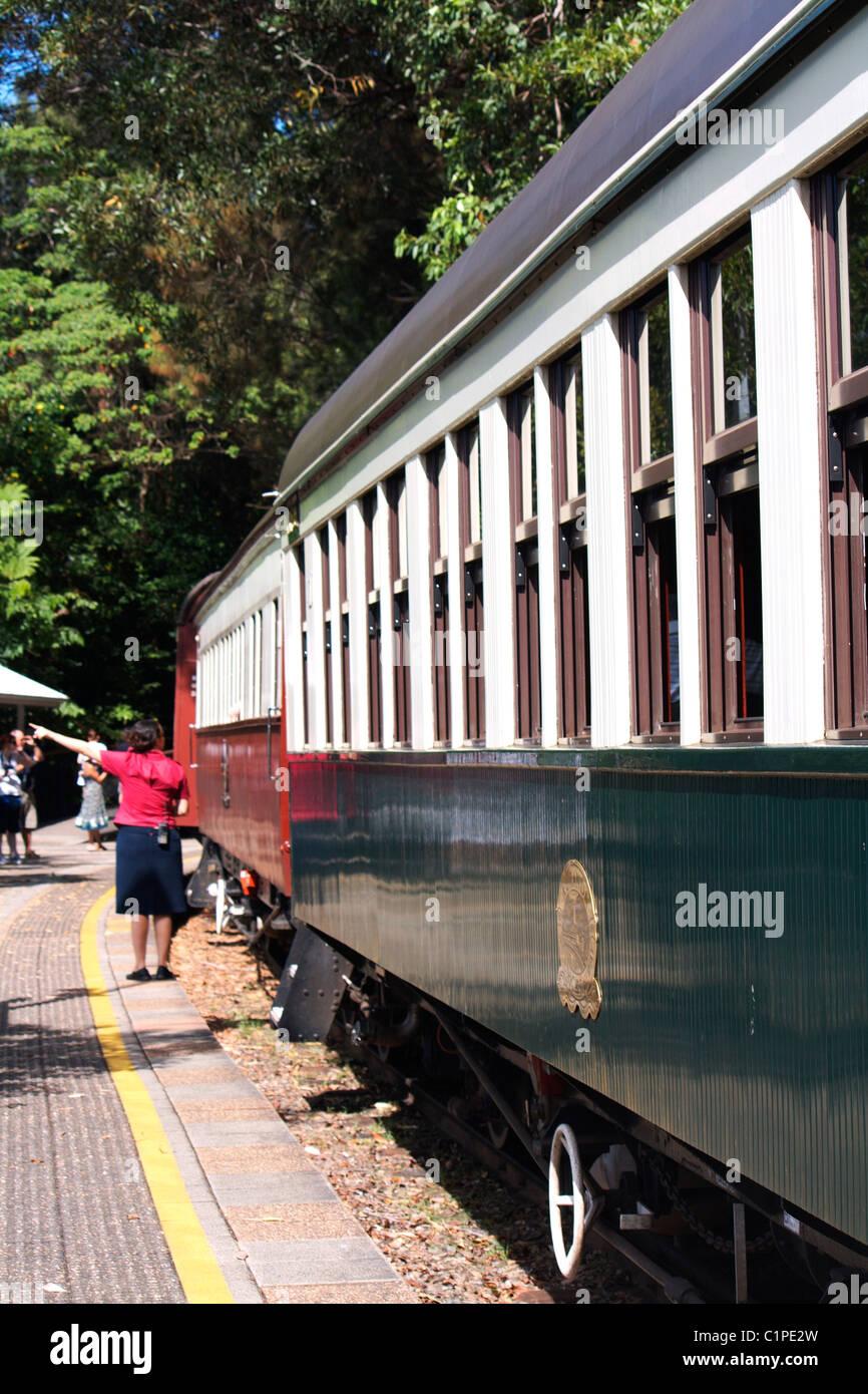 Australia, Kuranda Scenic Railway, people on platform - Stock Image