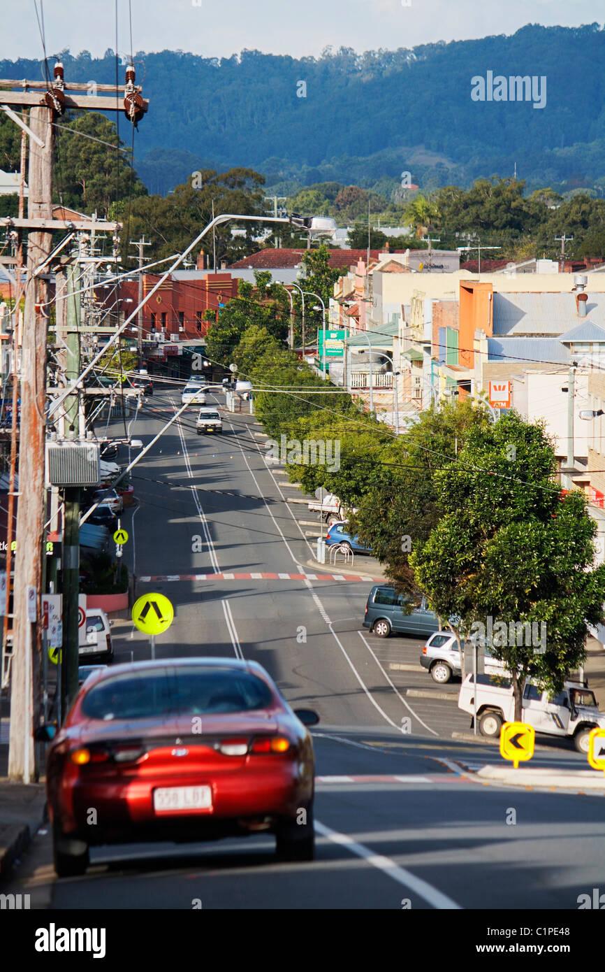 Australia, New South Wales, Murwillumbah, car on main street through town - Stock Image