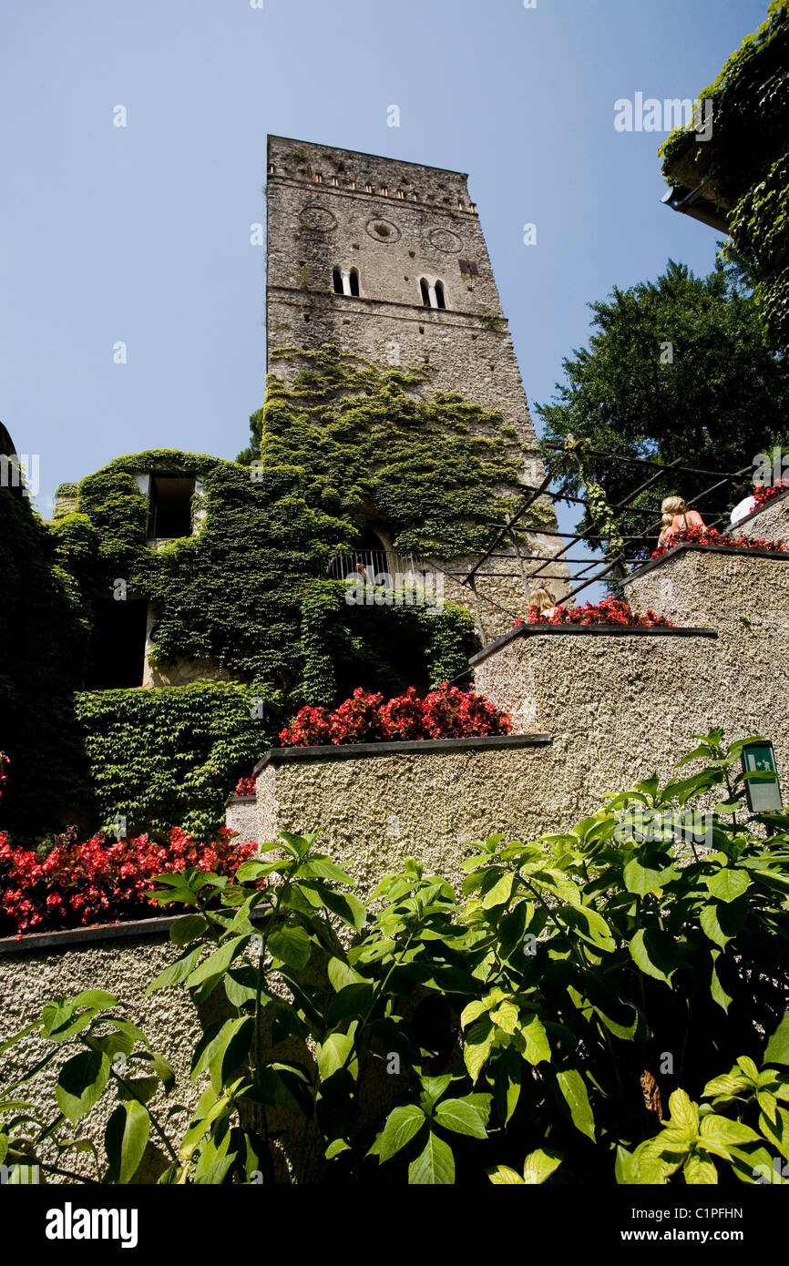 Italy, Ravello, Villa Rufolo, tower overlooking formal garden - Stock Image