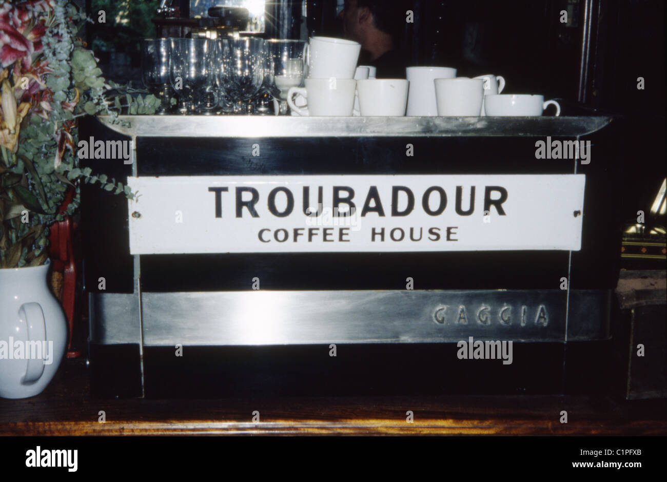 Expresso machine of the Troubadour, Old Brompton Rd, a famous 1950s coffee house in Earl's Court, London. - Stock Image