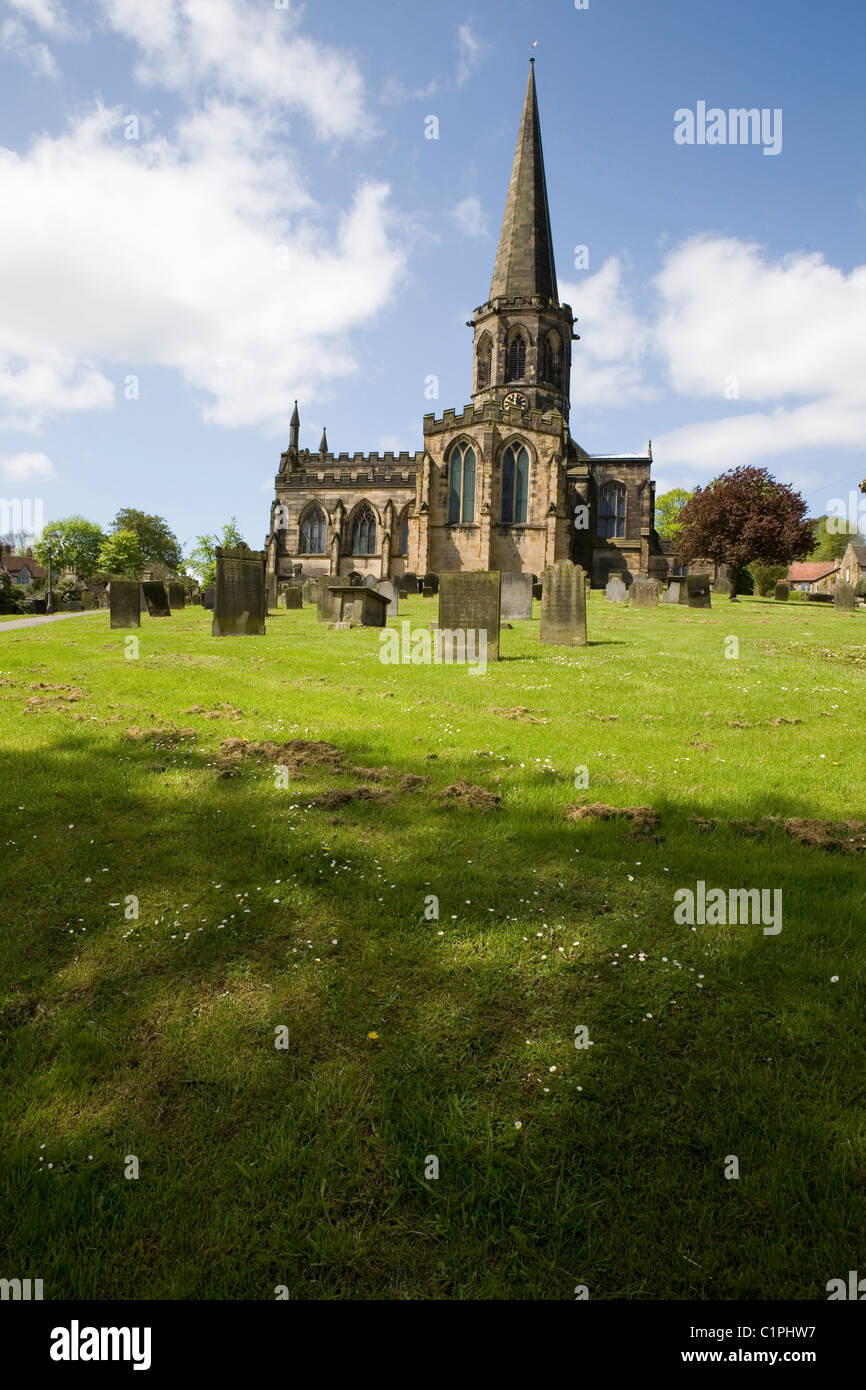 England, Derbyshire, Bakewell, All Saints Church and graveyard - Stock Image