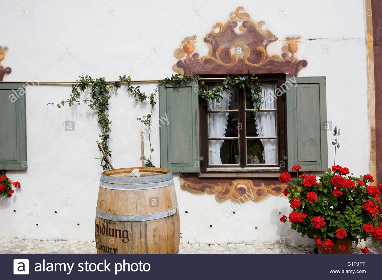 Germany, Bavaria, Oberammergau, facade - Stock Image