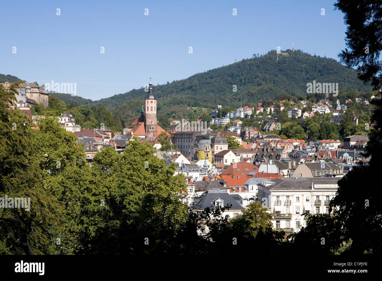 Germany, Bavaria, Baden, town in valley below mountain - Stock Image