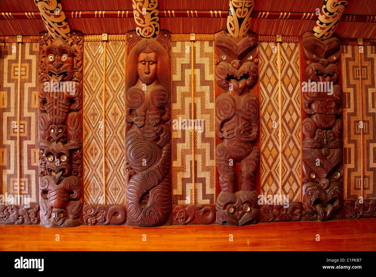 Carved panels inside Te Whare Runanga, Maori Meeting House, Waitangi, Bay of Islands, Northland, North Island, New - Stock Image
