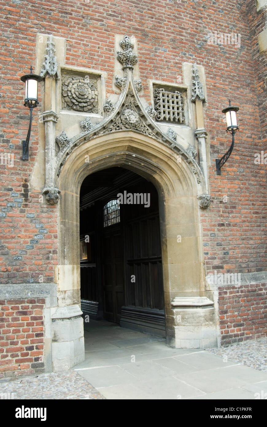 England, Cambridge, St. John's College, Chapel entrance - Stock Image